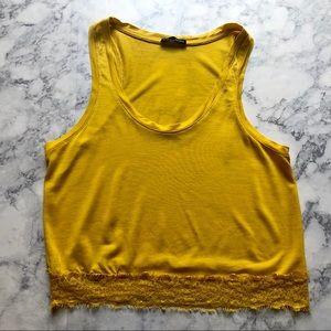 ZARA mustard yellow lace crop tank top shirt small